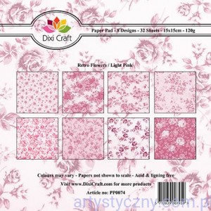 Papiery Dixi Craft - 15x15cm Retro Flowers - Light Pink PP0074