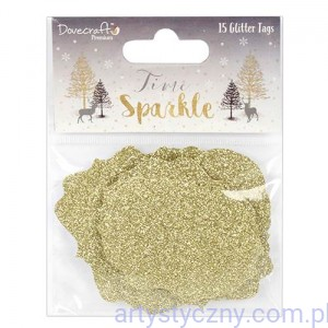 Dovecraft Time to Sparkle Glitter Tags - Tabliczki Złoty Brokat