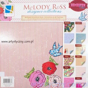 Papiery Ozdobne HOMESPUN CHIC Melody Ross - 15,2x15,2 cm - 12 ark