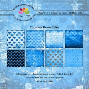 Papiery Dixi Craft - 15x15cm Christmas Hearts/Blue PP0052