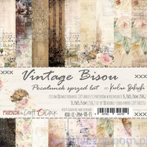 Papiery Craft o'Clock - Vintage Bisou 15x15cm, 9 ark