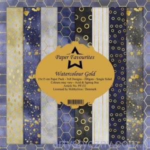 Papiery Dixi Craft 15x15cm Watercolour Gold PF132