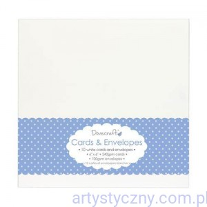 "Kartki i Koperty - Dovecraft White 6""x6"" Cards & Envelopes - Białe"