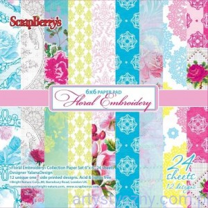 Papiery Ozdobne ScrapBerry's - Floral Embroidery, 24 ark 15х15 сm