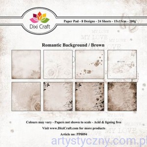 Papiery Dixi Craft - 15x15cm Romantic Background Brown PP0094
