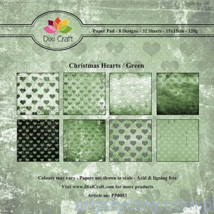 Papiery Dixi Craft - 15x15cm Christmas Hearts/Green PP0053