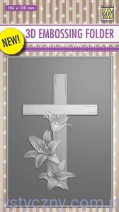Folder do embossingu 3D Cross with Lilies, Krzyż i Lilie EF3D10