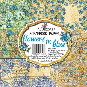 Papiery do Scrapbookingu - 15x15cm, Flowers in blue - 8ark