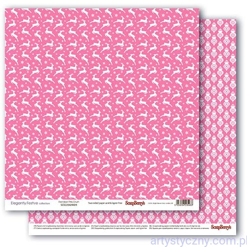Papier do Scrapbookingu, Renifery Pink Crush, 30x30сm