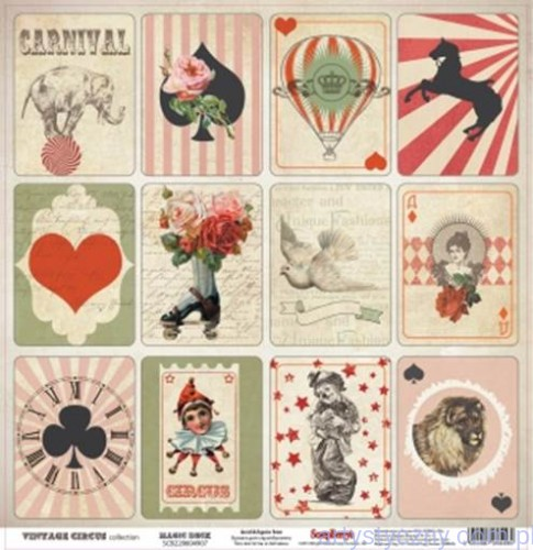 Papier Ozdobny, Toppers - Vintage Circus 30x30 сm