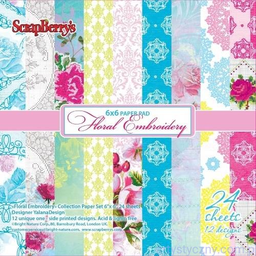 Papiery Ozdobne ScrapBerry's - Floral Embroidery, 12ark, 15х15сm