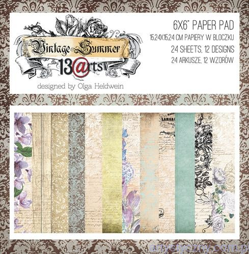 Papiery do Scrapbookingu - Vintage Summer - 15x15cm - 24 ark